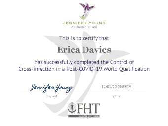 Certificate issued to Erica Davies for Control of Cross-infection